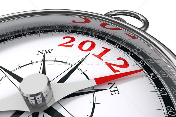 Nouvelle année 2012 boussole blanche rouge carte Photo stock © donskarpo