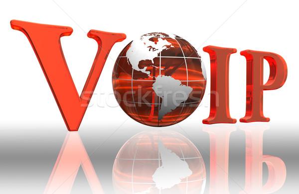 Voip logo mot orange terre monde Photo stock © donskarpo
