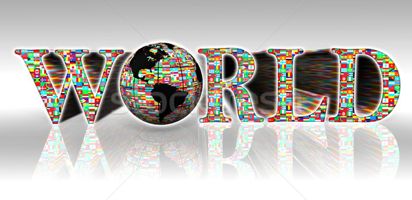 world flags word and earth globe Stock photo © donskarpo