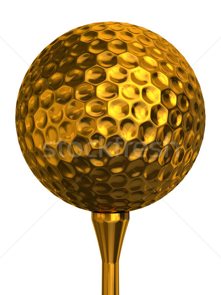 мяч для гольфа золото изолированный белый Сток-фото © donskarpo