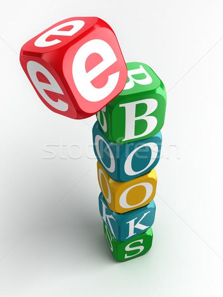 e-books 3d colorful cube tower Stock photo © donskarpo