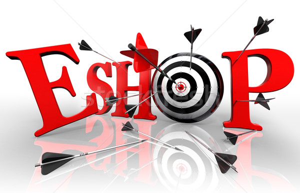 eshop red word and conceptual target Stock photo © donskarpo