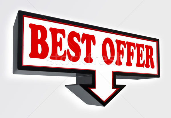 best offer red and black arrow sign  Stock photo © donskarpo