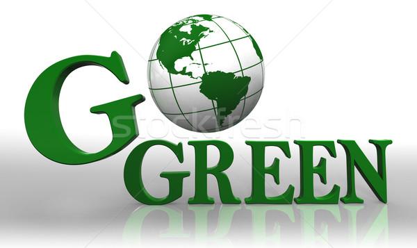 go green logo word and earth globe Stock photo © donskarpo