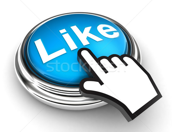 like blue button and pointer hand Stock photo © donskarpo