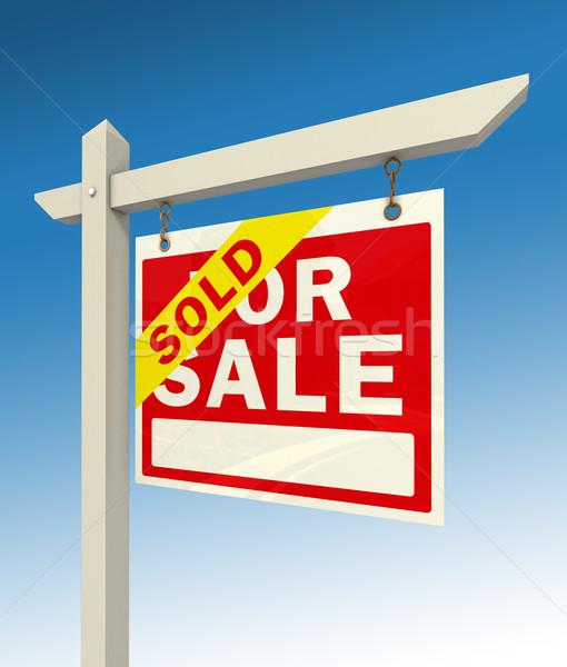 Venta rojo signo palabra vendido inmobiliario Foto stock © donskarpo