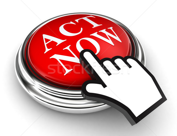 act now red button and pointer hand Stock photo © donskarpo