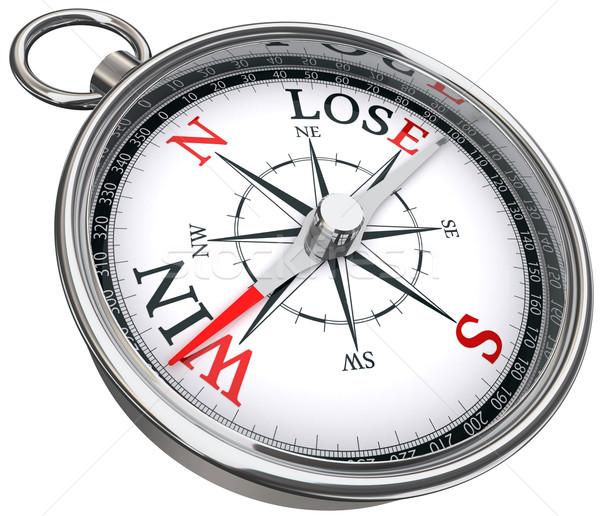 Győzelem elveszít iránytű piros fekete szavak Stock fotó © donskarpo