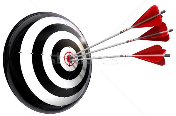 Target drie pijlen afbeelding geïsoleerd witte Stockfoto © donskarpo