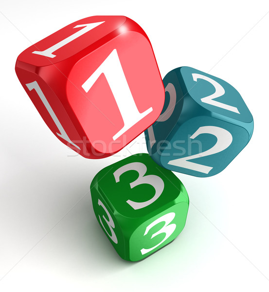 one two three numbers on dice box Stock photo © donskarpo