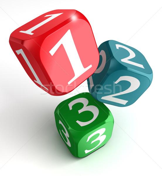 one two three numbers on dice box Stock photo © donskarpo