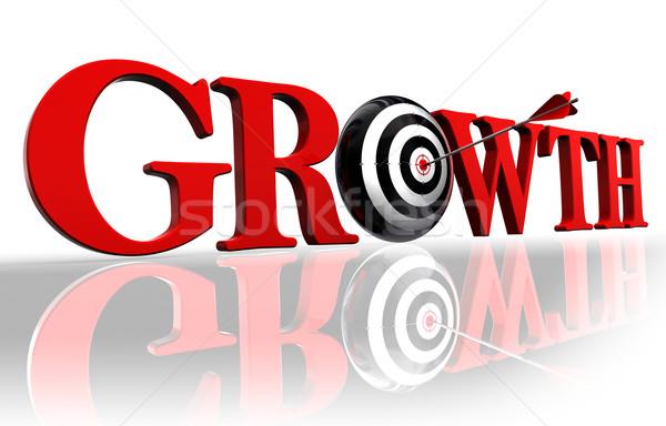 Stok fotoğraf: Büyüme · kırmızı · kelime · hedef · ok · beyaz