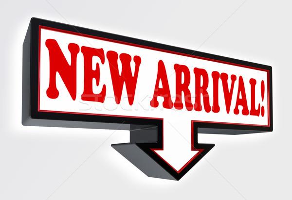 új érkezés piros fekete nyíl jelzés fehér Stock fotó © donskarpo