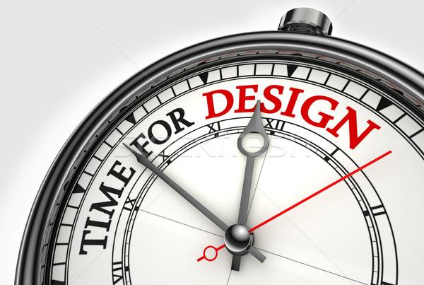 Tempo design clock primo piano bianco rosso Foto d'archivio © donskarpo