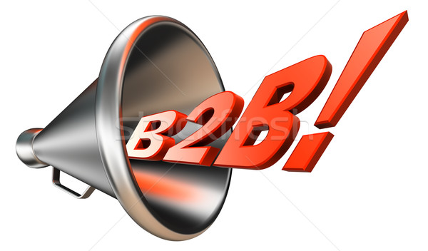 B2b オレンジ 言葉 メガホン 白 ストックフォト © donskarpo
