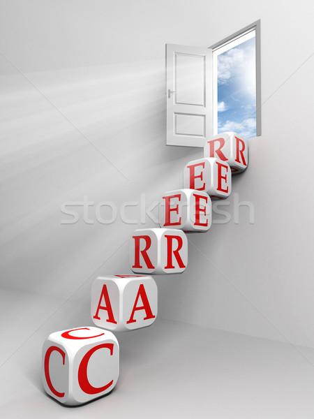 Stok fotoğraf: Kariyer · kapı · kutu · merdiven · beyaz · oda