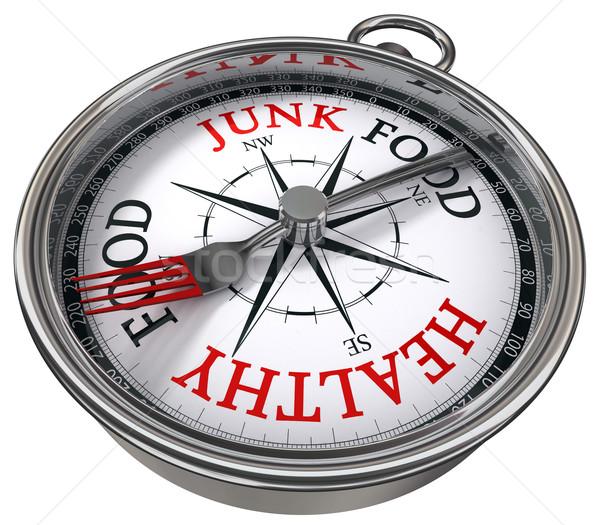 healthy versus junk food concept compass Stock photo © donskarpo