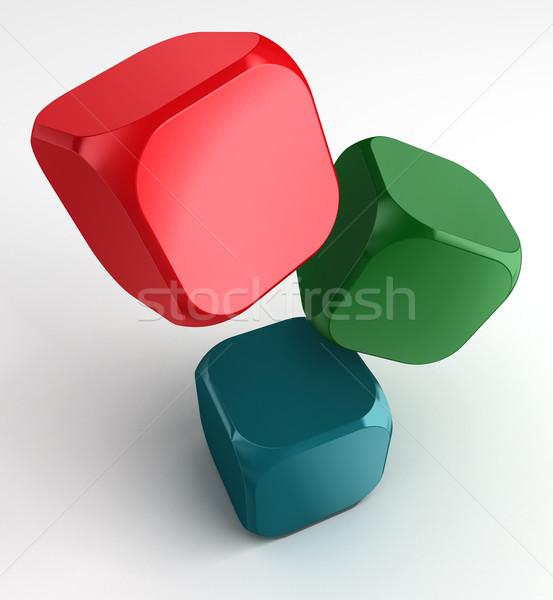 Cubos blanco rojo verde azul cubo Foto stock © donskarpo