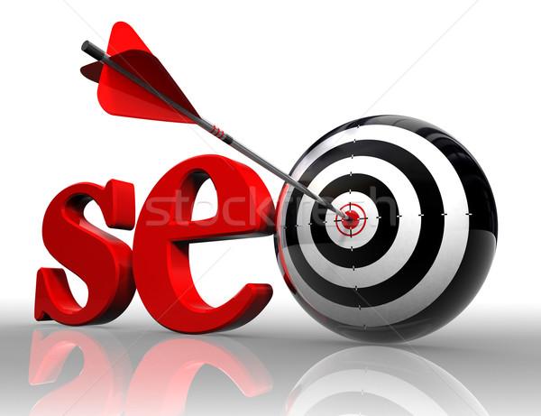 Seo Rood woord target pijl witte Stockfoto © donskarpo