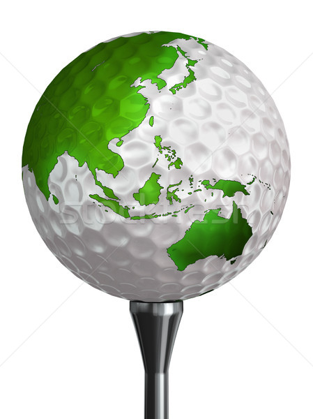 Australie Asie vert continent balle de golf isolé Photo stock © donskarpo