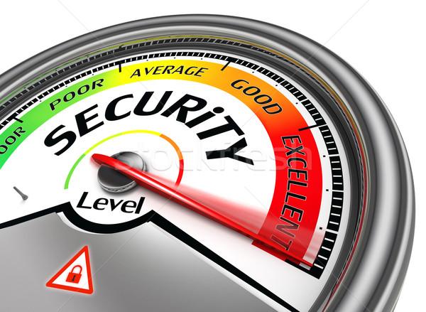Veiligheid niveau geïsoleerd witte computer teken Stockfoto © donskarpo