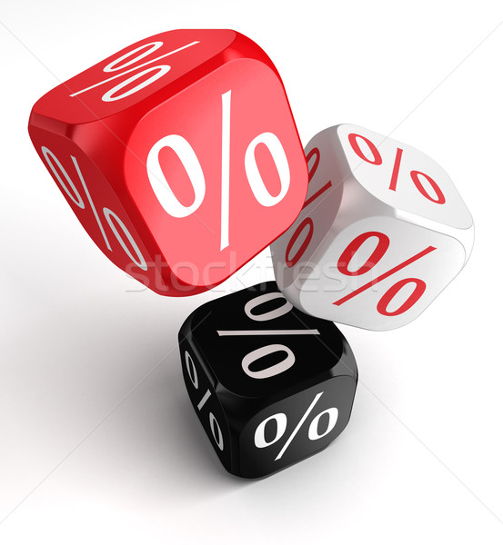 per cent symbol on dice cubes red white black Stock photo © donskarpo
