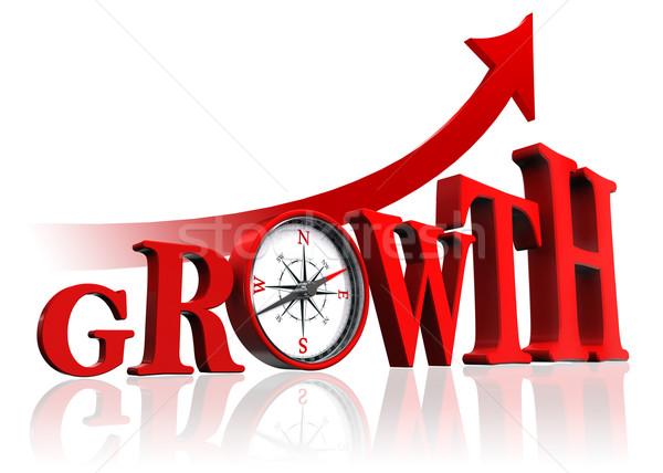 Groei Rood woord kompas pijl witte Stockfoto © donskarpo