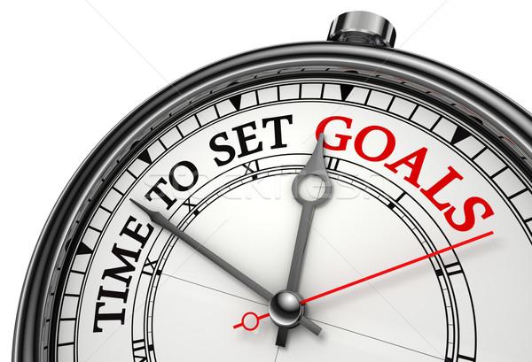 Tiempo establecer objetivos reloj primer plano aislado Foto stock © donskarpo