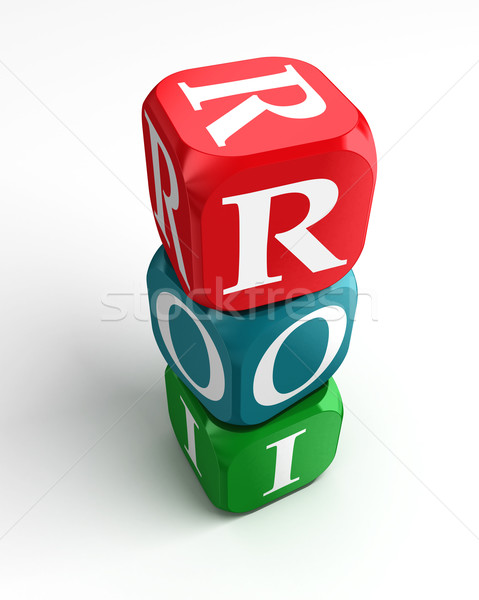 Roi Rood groene Blauw dobbelstenen terugkeren Stockfoto © donskarpo