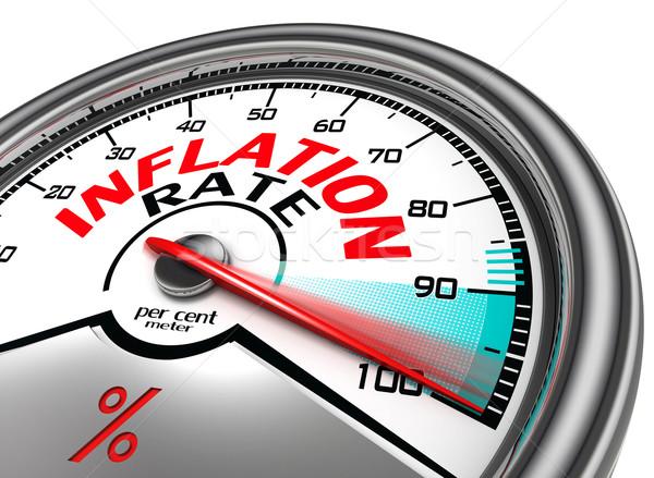 Infláció gyakoriság száz által cent izolált Stock fotó © donskarpo