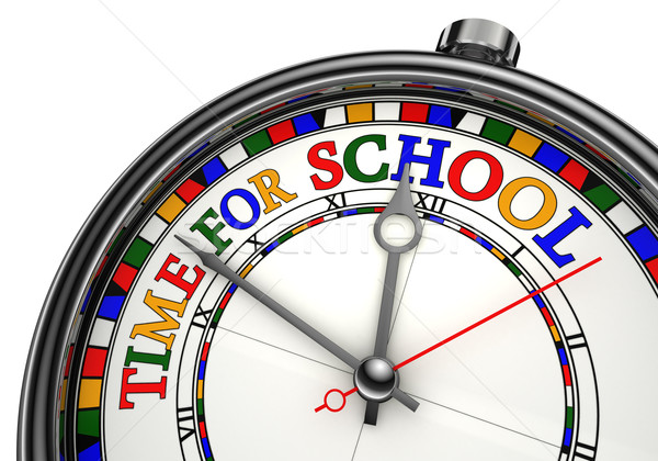 Photo stock: Temps · école · coloré · horloge · blanche