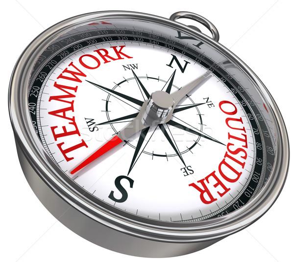 teamwork vs outsider concept compass Stock photo © donskarpo