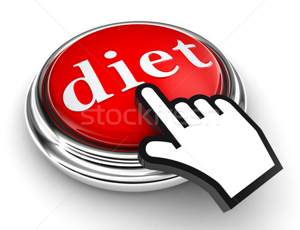 diet red button and pointer hand Stock photo © donskarpo