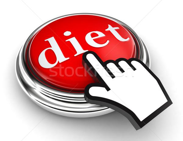 Dieta rojo botón mano cursor blanco Foto stock © donskarpo
