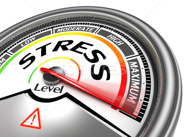 stress level conceptual meter indicating maximum Stock photo © donskarpo