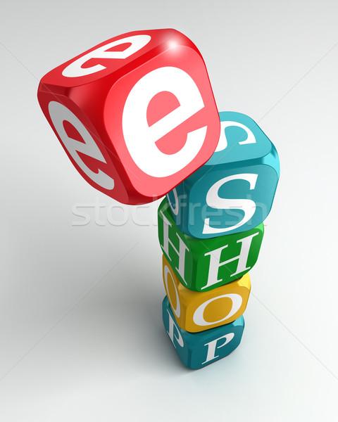 eshop sign 3d colorful buzzword Stock photo © donskarpo