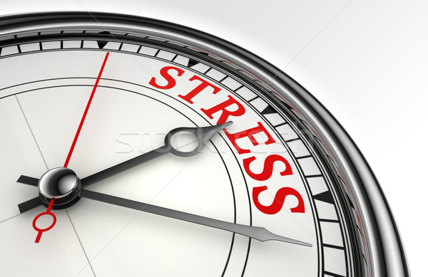Stress rosso parola clock primo piano bianco Foto d'archivio © donskarpo