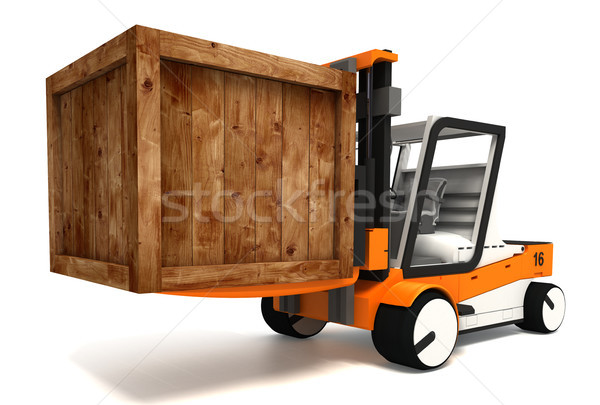 fork lifter transporting wooden crate Stock photo © donskarpo
