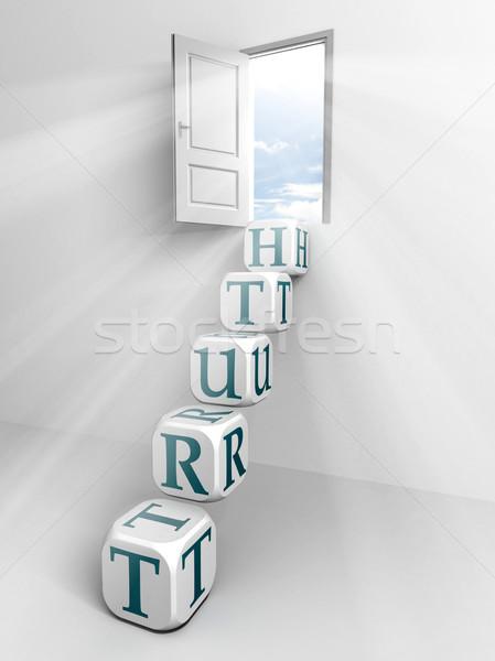 Verdad puerta cuadro escalera blanco habitación Foto stock © donskarpo