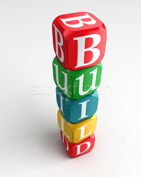 build 3d colorful buzzword Stock photo © donskarpo