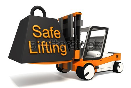 fork lifter lifting black weight  Stock photo © donskarpo