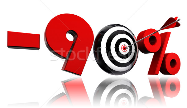 ninety per cent red discount symbol target and arrow Stock photo © donskarpo