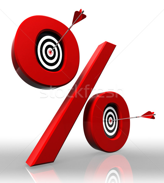 per cent red symbol with conceptual targets Stock photo © donskarpo