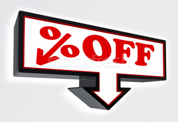 per cent off price sign with arrow down Stock photo © donskarpo