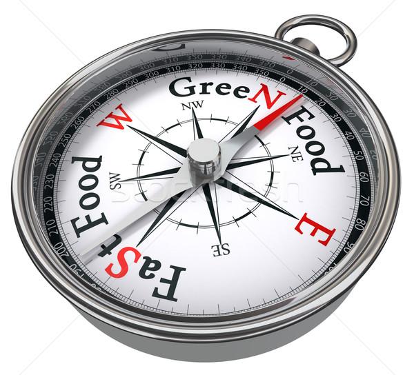 green food versus fast food concept compass Stock photo © donskarpo