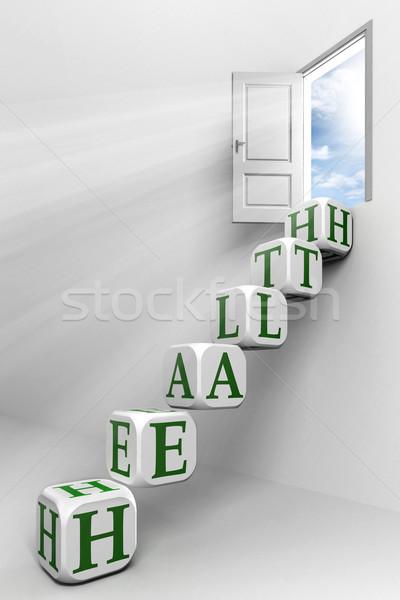 Salud puerta cielo cuadro verde palabra Foto stock © donskarpo