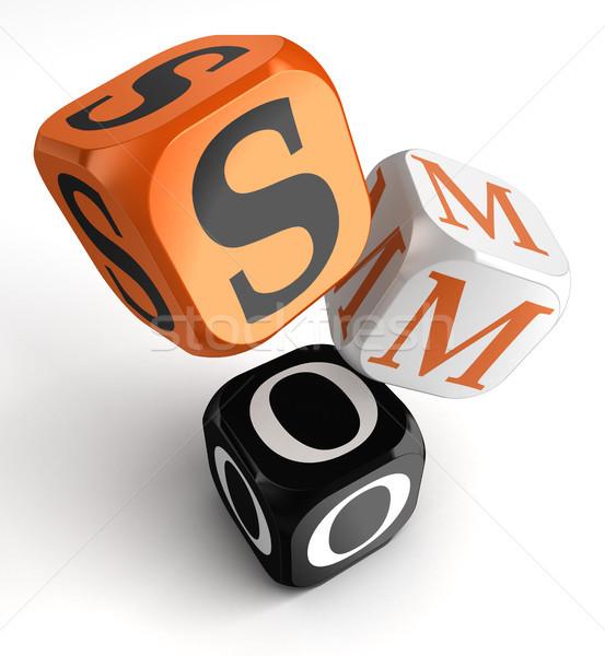 Oranje zwarte dobbelstenen blokken social media optimalisatie Stockfoto © donskarpo