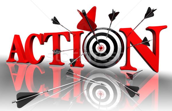 Azione rosso parola target arrow bianco Foto d'archivio © donskarpo