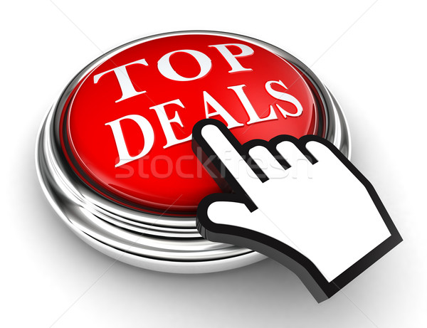 top deals red button and pointer hand Stock photo © donskarpo