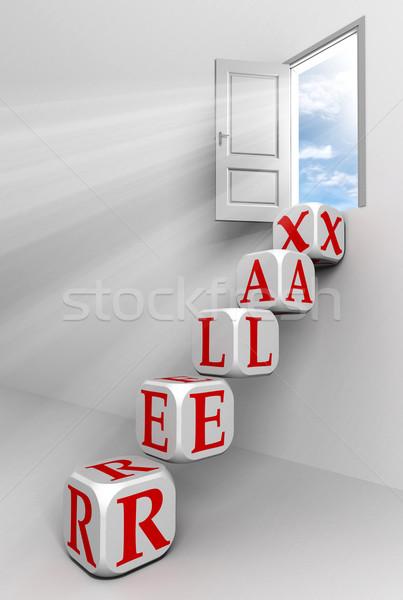 Ontspannen deur hemel vak Rood woord Stockfoto © donskarpo